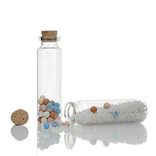 Goonpetchkrai.rapat7498 Glass Bottles Pendants Fashion 5PCs Tie Plug Tiny Glass Transparent Charms Pendants Mini Handmade Cute Vials Bottles Jewelry Potion 7.9cm x2.2cm (21ML)