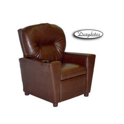 Cup Holder Kid's Recliner Color: Faux Leather - Pecan Brown ()