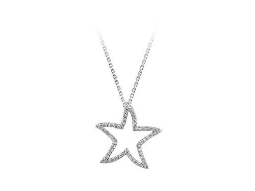 Pendentif Etoile de Diamants-Femme- or Blanc 204P0042