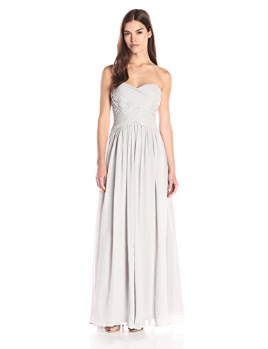 JS Boutique Women's Strapless Rouoched Bodice Chiffon Gown, Grey, 2
