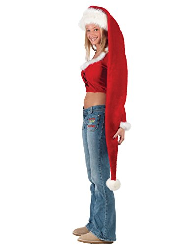 Fun World Costumes Women's Adult Long Santa Hat, Red/White, One Size -
