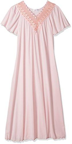 Shadowline Women's Beloved 53 Inch Flutter Sleeve Long Gown, Pink, Medium