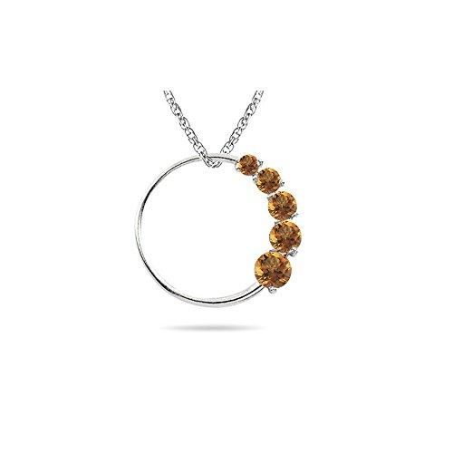 Pendant Journey Circle Birthstone - 0.30-0.50 Cts AA Round Citrine Journey Circle Pendant in 14K White Gold