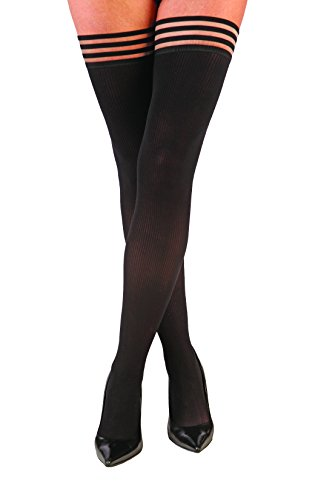 Kix`ies Thigh Highs Stockings Hold Up Nylon Pantyhose - Sleek, Slender and Totally Ribbed - Dana Lynn (Size -