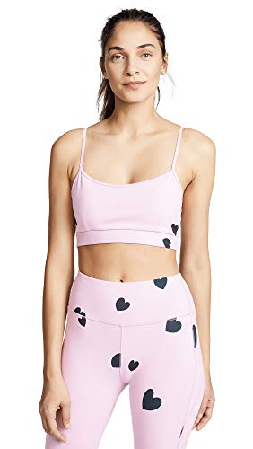 Monrow Women's Sports Bra with Scattered Hearts, Dusty Rose, Large - Scattered Hearts