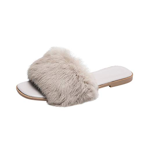 Outside Wearing Furry Slippers, Claystyle Summer Fashion Flat Sandals Fashion Street Shoot Trend Shoes Solid Color Sandals(Gray,US: 5.5) (Beige Post Gray 36')