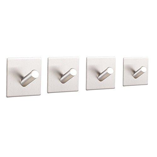durable service KAERSI Single Adhesive Stainless Steel Hook for Towel, Coat, Hat, Robe 5pcs