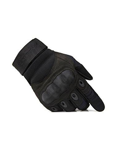 FREE SOLDIER Outdoor Men Military Hard Knuckle Full Finger Glove Tactical Armor Gloves (X-Large, Black) - Mens Full Finger