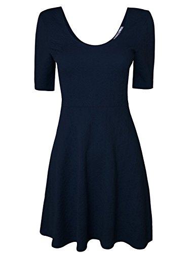 Tom's Ware Women Sophisticated Slim Fit Short Sleeve Flare Skater Dress TWCWD063-NAVY-US L/XL(Tag Size XL)