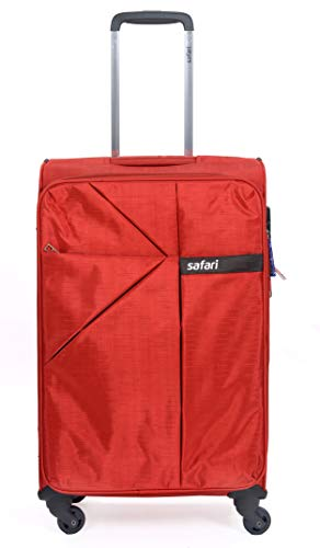 Safari Airlite Deluxe Fabric 4 Wheels Red Softsided Trolley Bag
