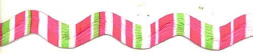 (Jumbo Ric Rac - Random Stripe - Pink/green/white - 1 Yard )