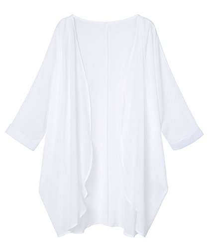 OLRAIN Women's Floral Print Sheer Chiffon Loose Kimono Cardigan Capes (Large, White-2)