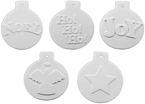 New Hampshire Craftworks Christmas Ball Ornament Collection Number 3 - Set of 5 - Host Your Own Ceramic Painting Party -
