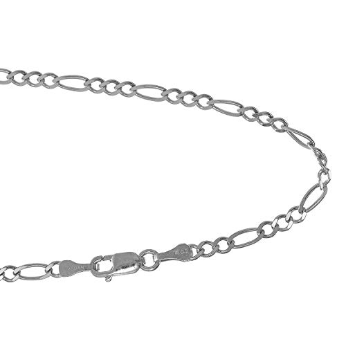 JewelStop 14k Solid White Gold 2.6 Figaro Chain Anklet, Lobster Claw Clasp - 9.5
