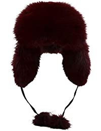 Winter Fox Fur Trapper Hat Ushanka Russian Earflap Hunting Hat For Men and  Women d5a52a7e0879