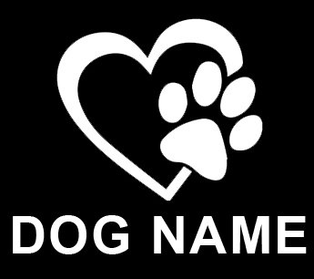 Heart With Dog Paw CUSTOM CUSTOMIZED Name By Decalorize Puppy Love Vinyl Decal Window Sticker For Cars, Trucks, Windows, Walls, Laptops (Dog Car Stickers)