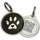 Black Paw Zinc Alloy QR Code Pet ID Tag w/ Smartphone/Web GPS Location Enabled