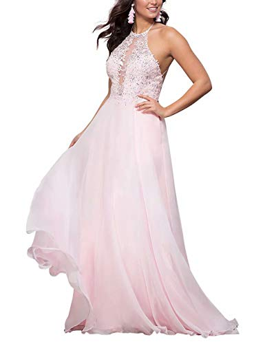 Womens Cross Back Halter Prom Dresses Sheer Illusion Applique Lace Beaded Long Homecoming Dresses with Pockets