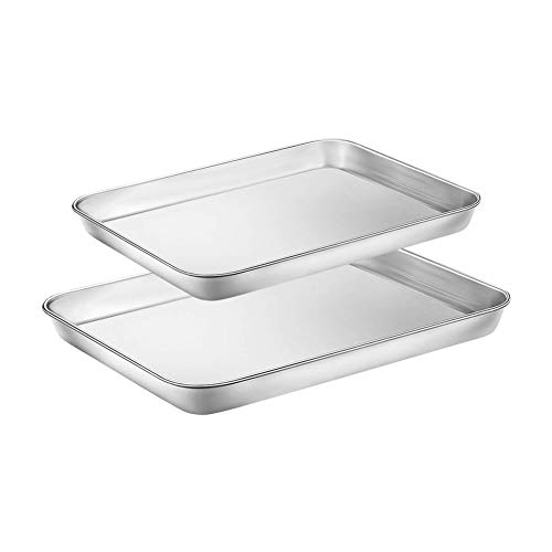 Stainless Steel Baking Sheet Set of 2 Tray Cookie Sheet Toaster Oven Pan Baking Pans 2 Sets (10 & 12 inch,Non Toxic & Healthy,Rust Free & Less Stick,Thick & Sturdy, Easy Clean & Dishwasher Safe)