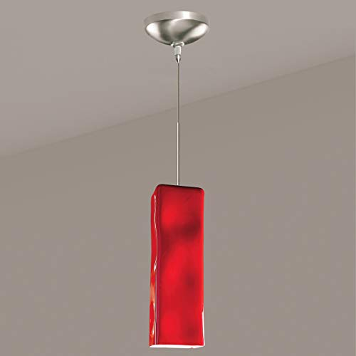 - A19 Magma Mini Pendant, 3.5-Inch Width by 11-Inch Height, Matador Red
