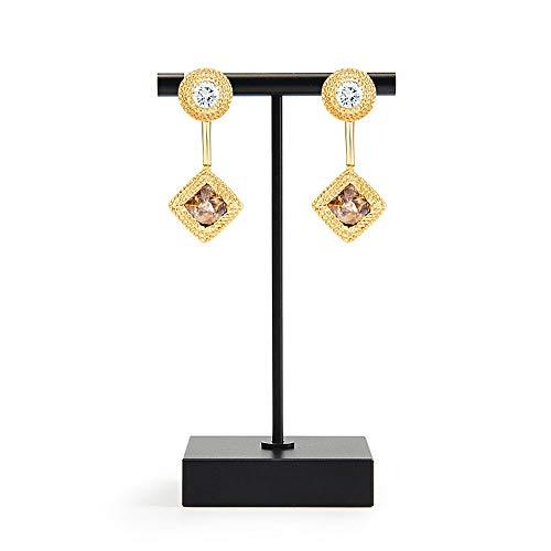 (Oirlv Pure Metal T- Shape Earring Display Stand Showcase Organizer Earring Tree(Black))