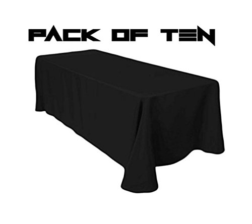 TC Tanu Collections Rectangle Tablecloth - 90 x 132 Inch - Black Rectangular Table Cloth for 6 Foot Table in Washable Polyester - Buffet Table, Parties, Holiday Dinner, Wedding & More (Pack of 10) by LinenTablecloth