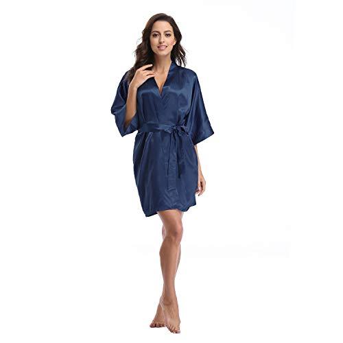 Luvrobes Women's Satin Kimono Robe, Solid Color, Short (Navy, -