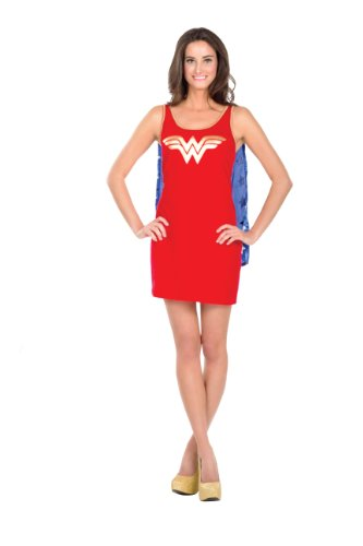[Rubie's DC Comics Justice League Superhero Style Adult Dress with Cape Wonder Woman, Red, Large] (Womens Tank Dress Wonder Woman Costumes)