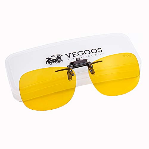 VEGOOS Yellow Night Vision Glasses Clips for Men Women Driving Anti Glare Flip up Sunglasses Over Prescription Glasses with Case -
