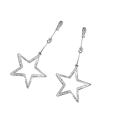 1 Pair Long Stars Personality Wild Five-Pointed Star Rhinestone Ladies Earrings Gifts (Silver)