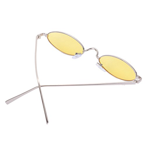 women S8011 Gafas amarillo Amarillo Ladies sol de Mujeres Gafas retro SODIAL Eyewear de redondas sol pequenas Gafas de Vintage sol xWwZnH8qTU