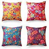 decoJungle Tropical Throw Pillow Covers, Set of 4 (18x18) - Floral Prints for Sofas, Couches, Chairs or Beds - Easy-to-Use Zipper Closure - Velvet and Canvas, Washing Machine-Safe - Premium Quality (Couch Print Floral)