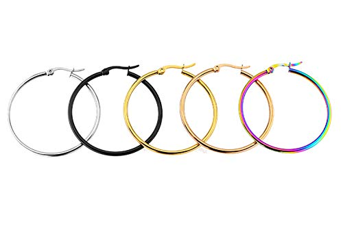 (Orris Pack of 5 Different Colors in Same Size, Titanium Steel Colorful Ear Hoop Earrings Set for Women Girls (4 cm))