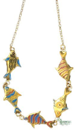 - Artoria Limoges: Swimming Fish Necklace, Authentic French Giftware, Handcrafted in Limoges, France