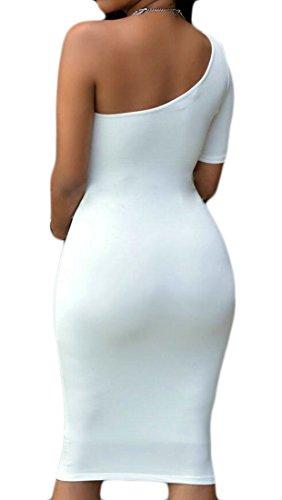 Les Femmes Domple Slim Fit Manches Courtes Découper Robe Moulante Sexy Épaule Clubwear Blanc