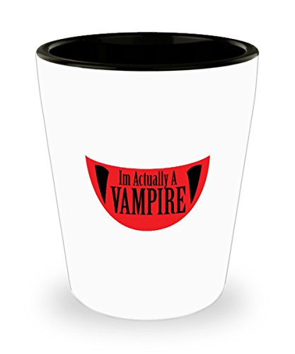 Shot Glass Funny Im Actually A Vampire Halloween Meme Funny Gift Glass shot -