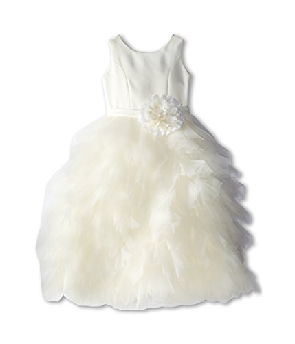 Us Angels Little Girl's Sleeveless With Netting Layered Skirt Dress, ivory, 5 by US Angels