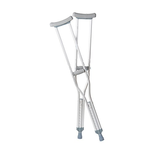 DMI Lightweight Push-Button Adjustable Aluminum Crutches with Pads, Tips and Handgrips Accessories, Youth 4'7'' to 5'2'', Silver and Gray, 8 Pairs of Crutches by Duro-Med (Image #1)