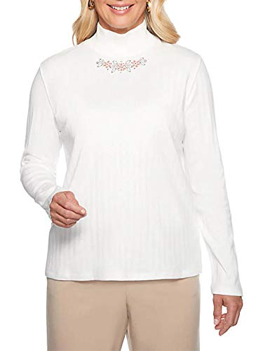 Alfred Dunner Womens Petite Home Holidays Embroidered Mock Neck Top