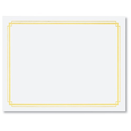 White Specialty Certificates, 50 Count Blank, Gold Foil Border on 38 lb. Paper Sheets, 8.5 x 11 Inches, Laser and Inkjet Compatible