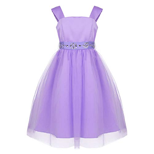 - iEFiEL Girls Tulle Flower Girl Dress Princess Pageant Wedding Bridesmaid Gown Lavender with Sash 12