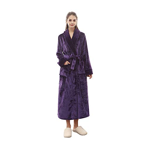 Yifen Unisex Solid Color Shawl Collar Plush Fleece Bathrobe Dressing Gown with Belt and Pockets (Purple, ()