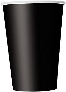 Unique Party- Paquete de 14 vasos de papel, Color negro, 266 ml (32046)