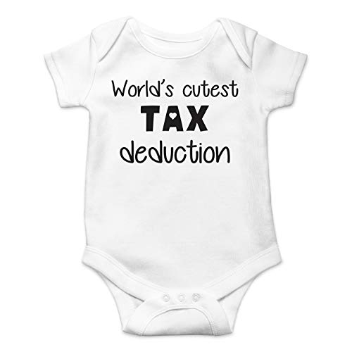 (World's Cutest Tax Deduction - Accountant Husband - Funny Cute Infant Creeper, One-Piece Baby Bodysuit (White,)