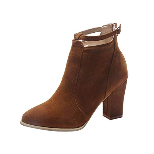 1d8d321d14fd UOKNICE Clearance Women Flcok Ponited Toe Boots Ankle Boots High Cone Heels  Zip Strap Martin Shoes