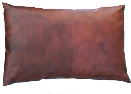 Thick Genuine Leather Pillow Cover TAN Decorative Pillow Case Queen/Standard Size TAN Leather Pillow Cover Solid Color (20''x26'')