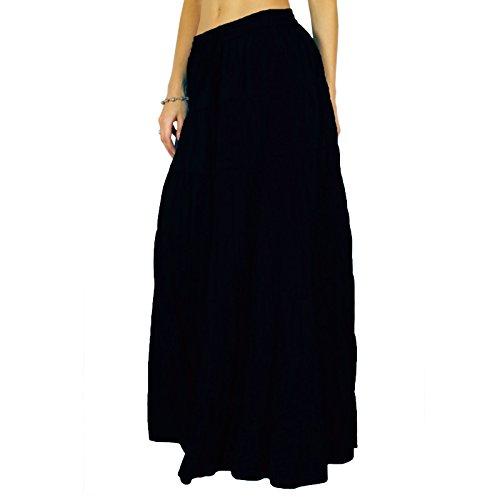 Phagun falda de la falda maxi larga playa del desgaste del verano del algodón Ropa Negro