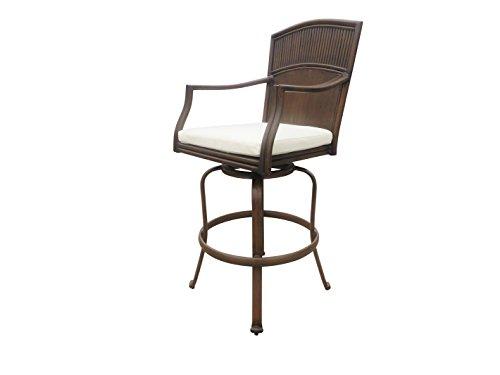 - Hospitality Rattan Panama Jack PJO-1401-ATQ-SB Tiki Bar Swivel Barstool, Antique Brown
