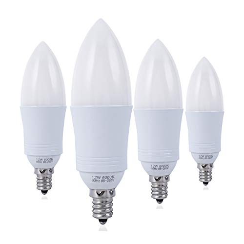 YRLighting E12 LED Bulbs, 100 Watt Equivalent LED Candelabra Bulb, 12 Watt Candle Base LED Chandelier Light Bulbs, Daylight White 6000K LED Lamp Bulbs, 1200 Lumen, 4 Pack