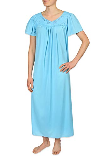 - Miss Elaine Tricot Nightgown, Long Sleep Dress with Comfortable Lightweight Fabric, Flutter Sleeves (XL, Marina Blue)